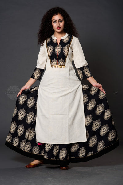 Ivory Kalamkari Kurta and Skirt Set