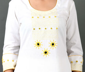 Unstitched Hand Embroidered Kurta FABRIC- Lemon Sitara on White