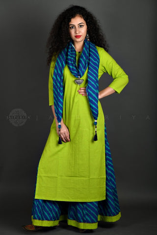 Lime Kurta Blue Leheriya Skirt and Stole Set