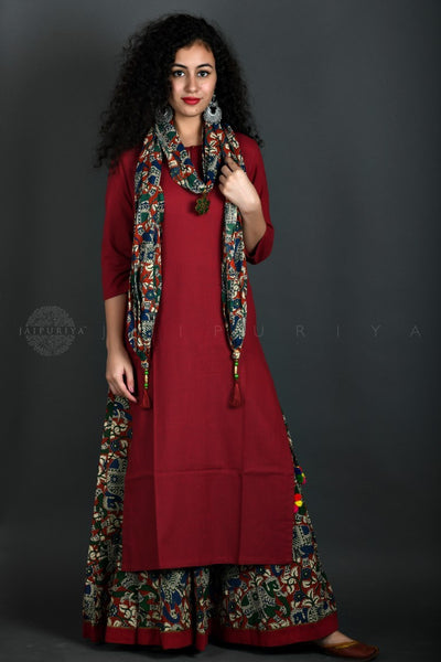 Maroon Elephant Skirt Kurta and Stole Set
