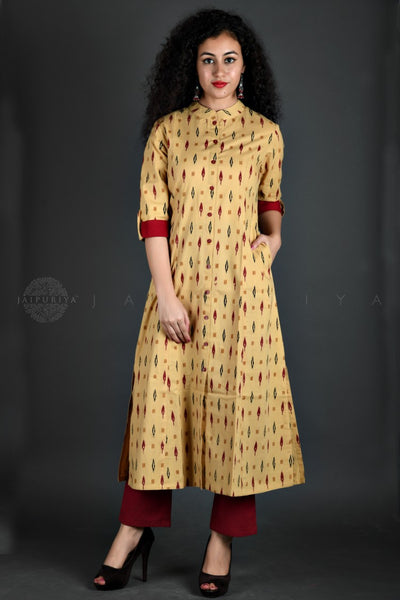 Beige Ikat Print Kurta and Pant Suit