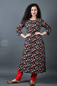 Basic Grey Red Geometric Kurta - Jaipuriya