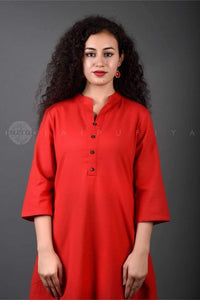 Basic Red Collar Kurta - Jaipuriya