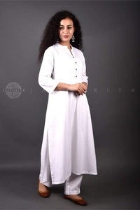 Basic White Collar Kurta - Jaipuriya