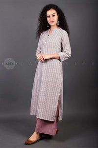 Dusty Mauve Striped Mid-Length Kurta - Jaipuriya