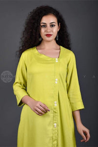 Lime Side Buttons Kurta - Jaipuriya