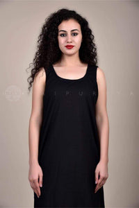 Sleeveless Black Cotton Slip - Jaipuriya