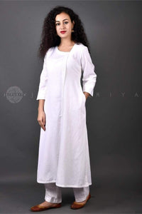 White Side Buttons Kurta - Jaipuriya