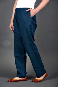 Basic Peacock Blue Cotton Pants - Jaipuriya