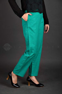Basic Teal Cotton Pants - Jaipuriya