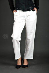Basic White Khadi Cotton Pants - Jaipuriya
