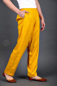 Basic Yellow Cotton Pants - Jaipuriya