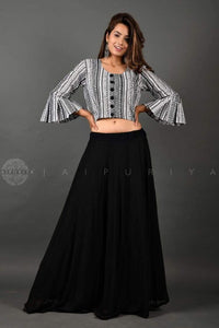 Black Fully-Lined Georgette Skirt - Jaipuriya