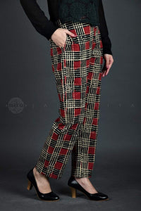 Maroon Checks Cotton Pants - Jaipuriya