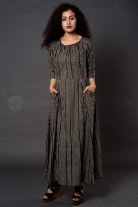 Grey Striped Summer Dress - Jaipuriya