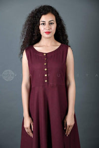 Wine Maxi Dress - Jaipuriya