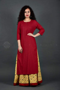Beige Ikat Skirt and Maroon Kurta Set - Jaipuriya