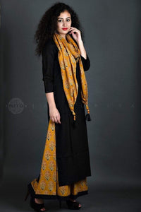 Black Mustard Sharara Kurta and Stole Set - Jaipuriya