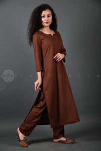 Brown Rayon Kurta and Pant Suit - Jaipuriya