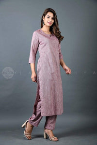 Dusty Mauve Kurta and Pant Suit - Jaipuriya