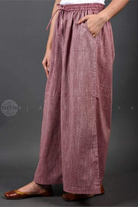 Dusty Mauve Striped Kurta and Palazzo Suit - Jaipuriya
