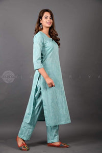 Dusty Teal Kurta and Pant Suit - Jaipuriya