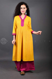 Rani Pink Mothna Yellow Set - Jaipuriya