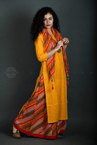 Yellow Kurta Multicoloured Sharara Stole Set - Jaipuriya