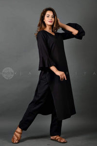 Basic Black Bell Sleeves Kurta - Jaipuriya