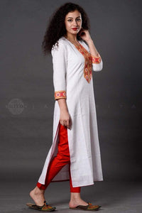 White Orange Round Neck Kurta - Jaipuriya