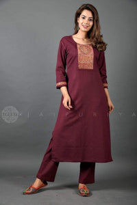 Wine Kutch Embroidery Straight Kurta - Jaipuriya