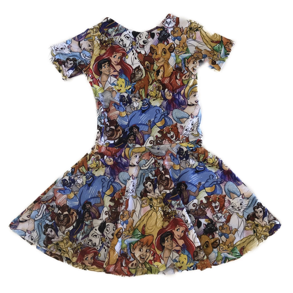 Size 4: Short Sleeve Twirl Dress with Panel