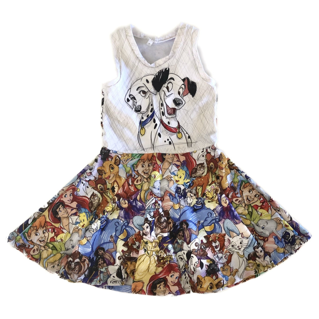Size 5: Sleeveless Twirl Dress with 101 Dogs Panel