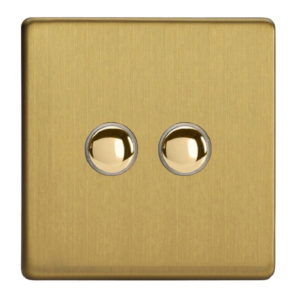 Varilight IJDBS002S | Brushed Brass Screwless Dimmer Switch