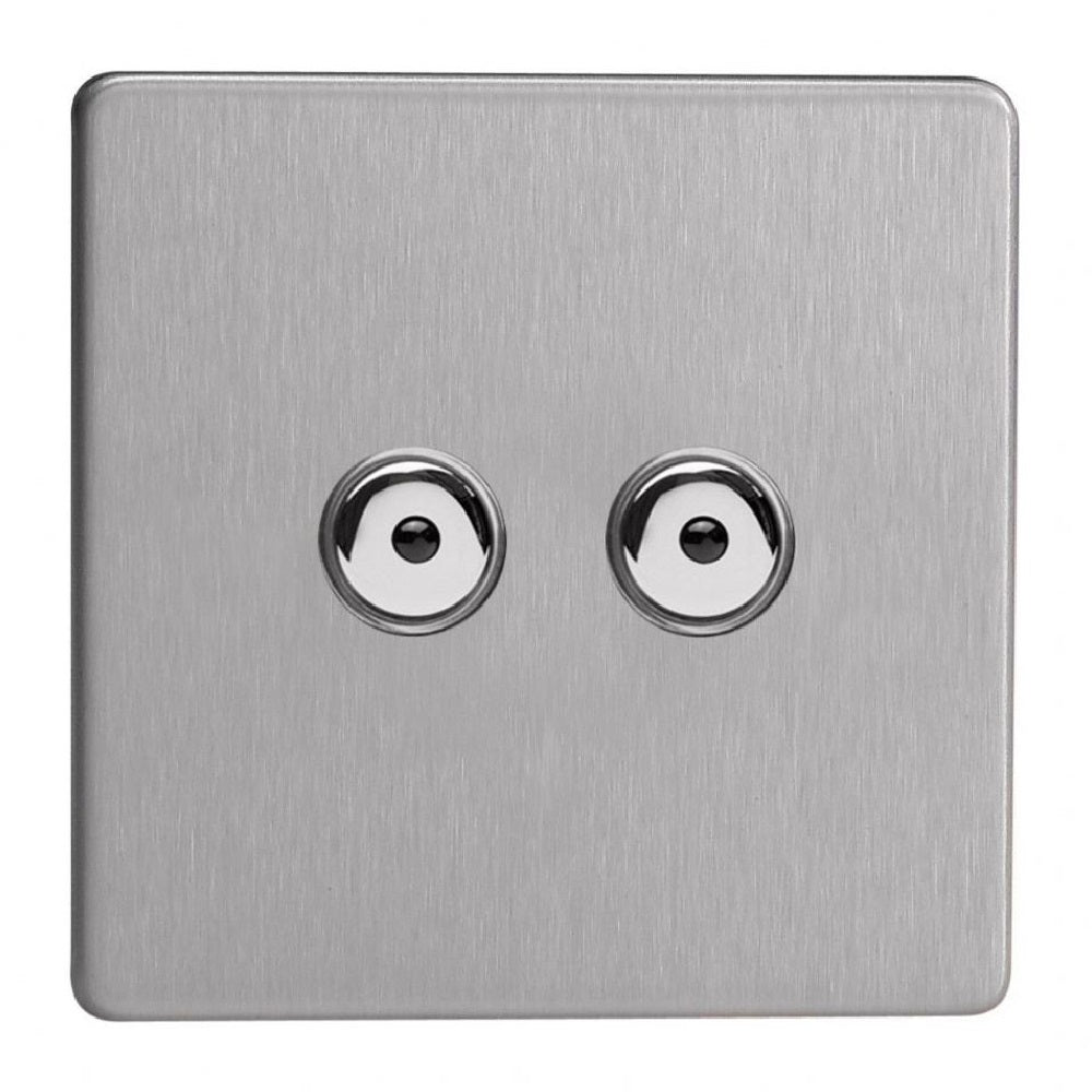 Varilight IJDSI102S | Brushed Steel Screwless Dimmer Switch