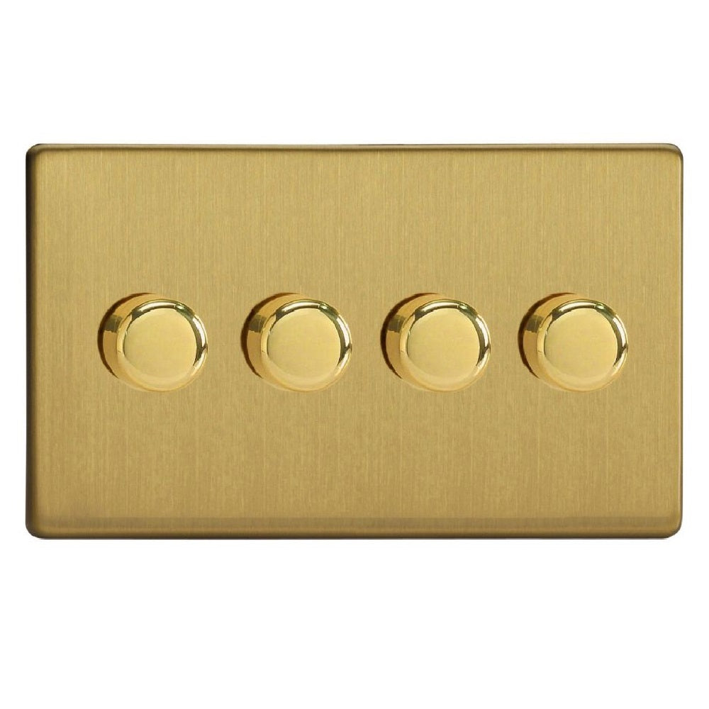 Varilight JDBDP254S | Brushed Brass Screwless Dimmer Switch