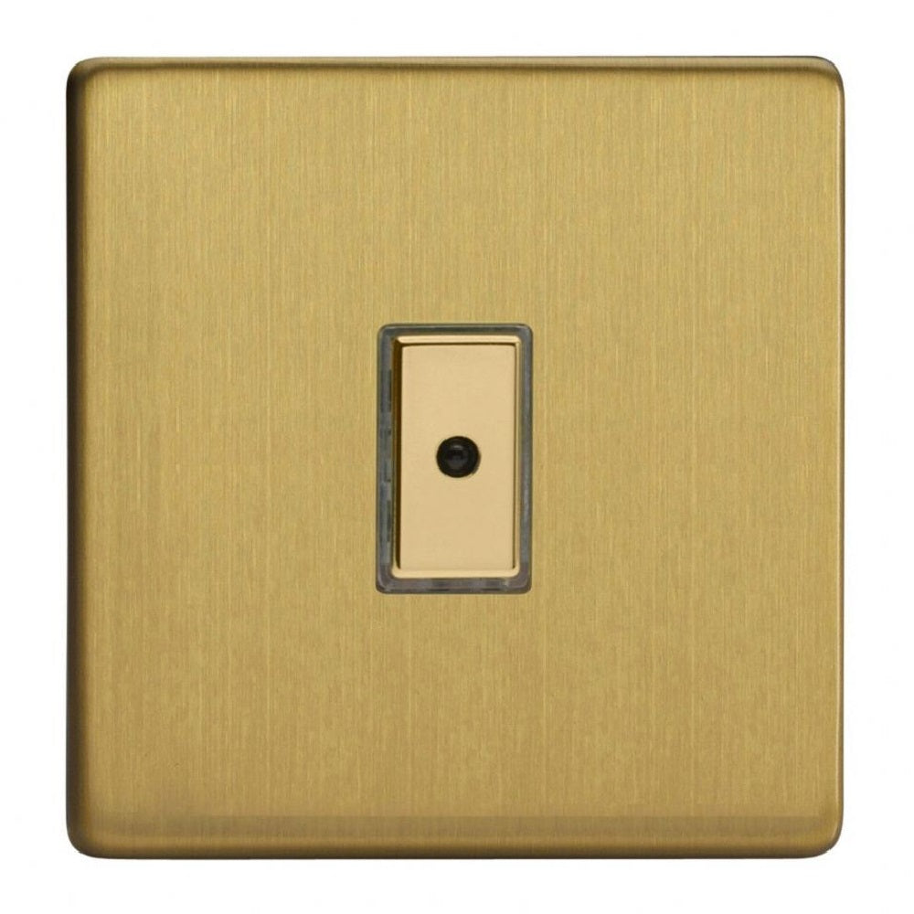 Varilight JDBE101S | Brushed Brass Screwless Dimmer Switch