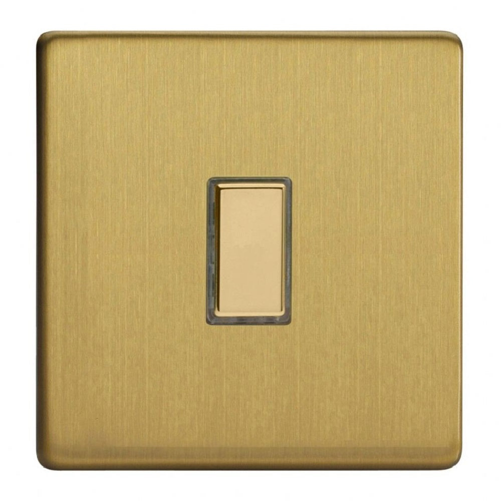 Varilight JDBES001S | Brushed Brass Screwless Dimmer Switch