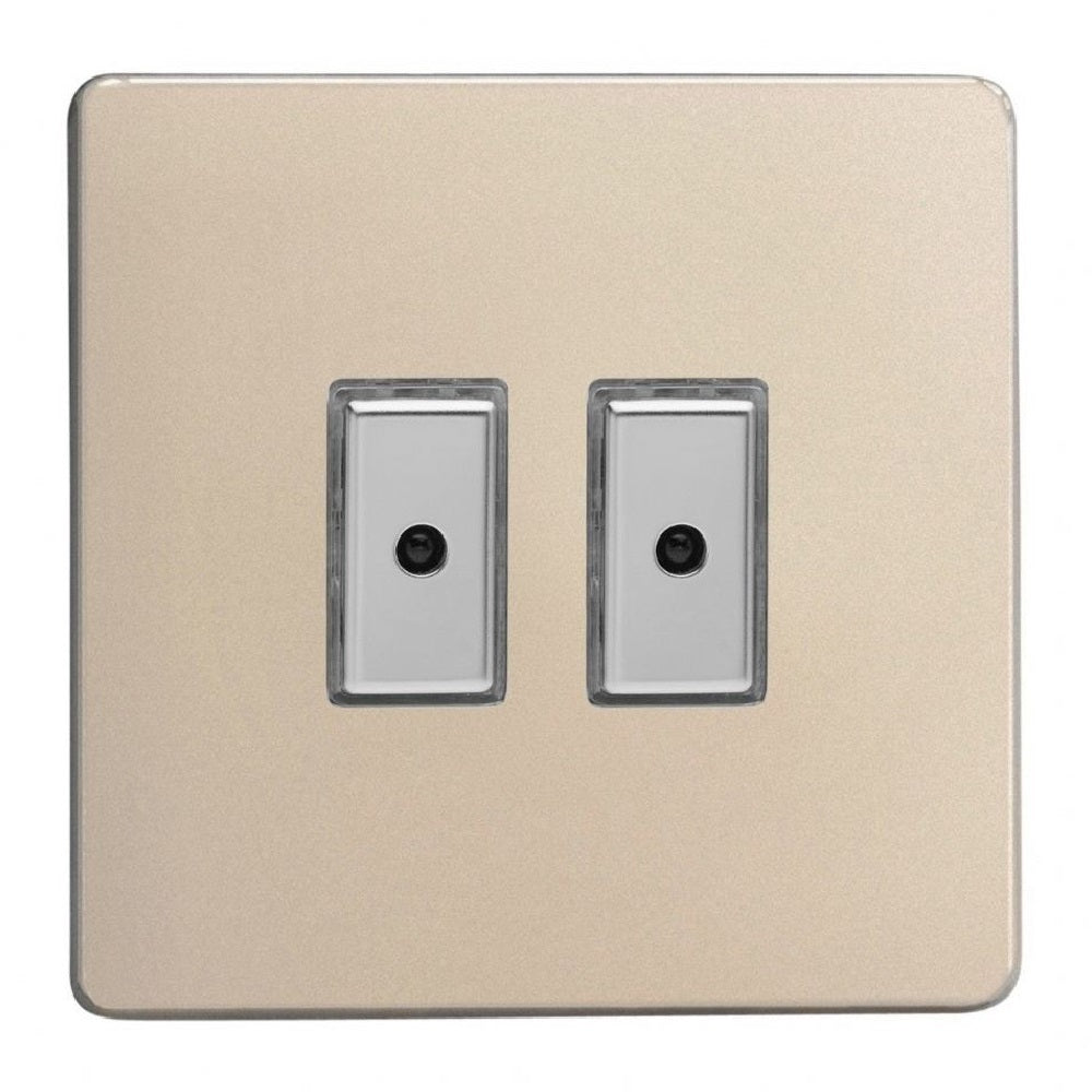 Varilight JDNE102S | Satin Chrome Screwless Dimmer Switch