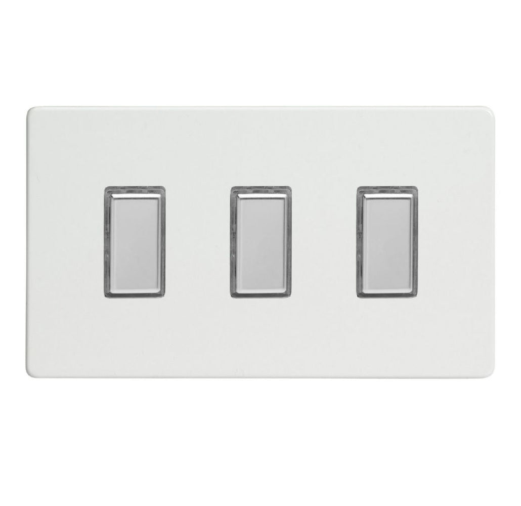 Varilight JDQES003S | Premium White Screwless Dimmer Switch