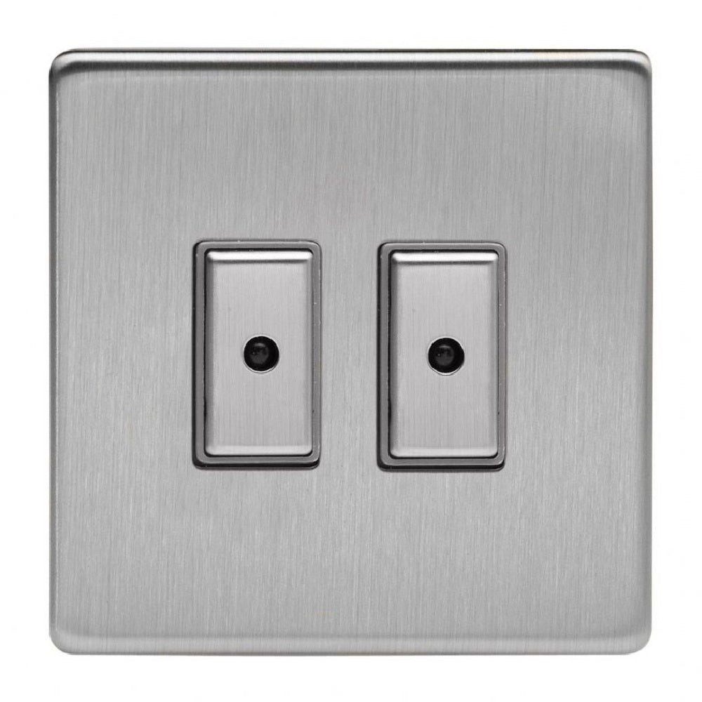 Varilight JDSE102S | Brushed Steel Screwless Dimmer Switch
