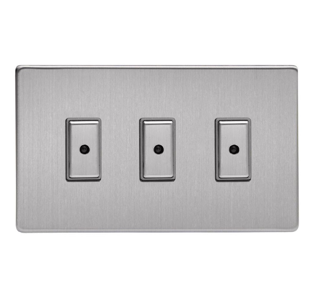 Varilight JDSE103S | Brushed Steel Screwless Dimmer Switch
