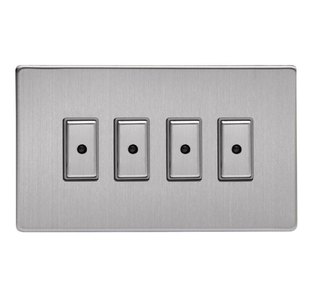 Varilight JDSE104S | Brushed Steel Screwless Dimmer Switch