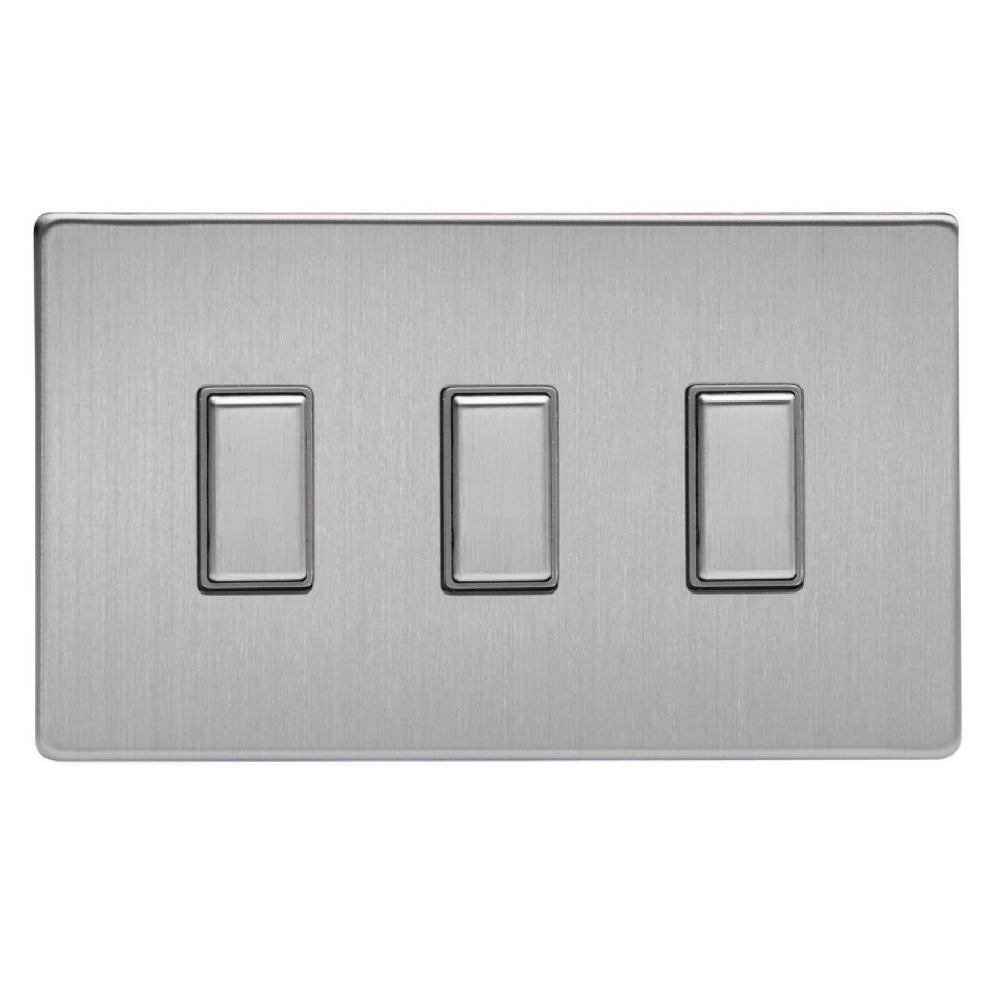 Varilight JDSES003S | Brushed Steel Screwless Dimmer Switch