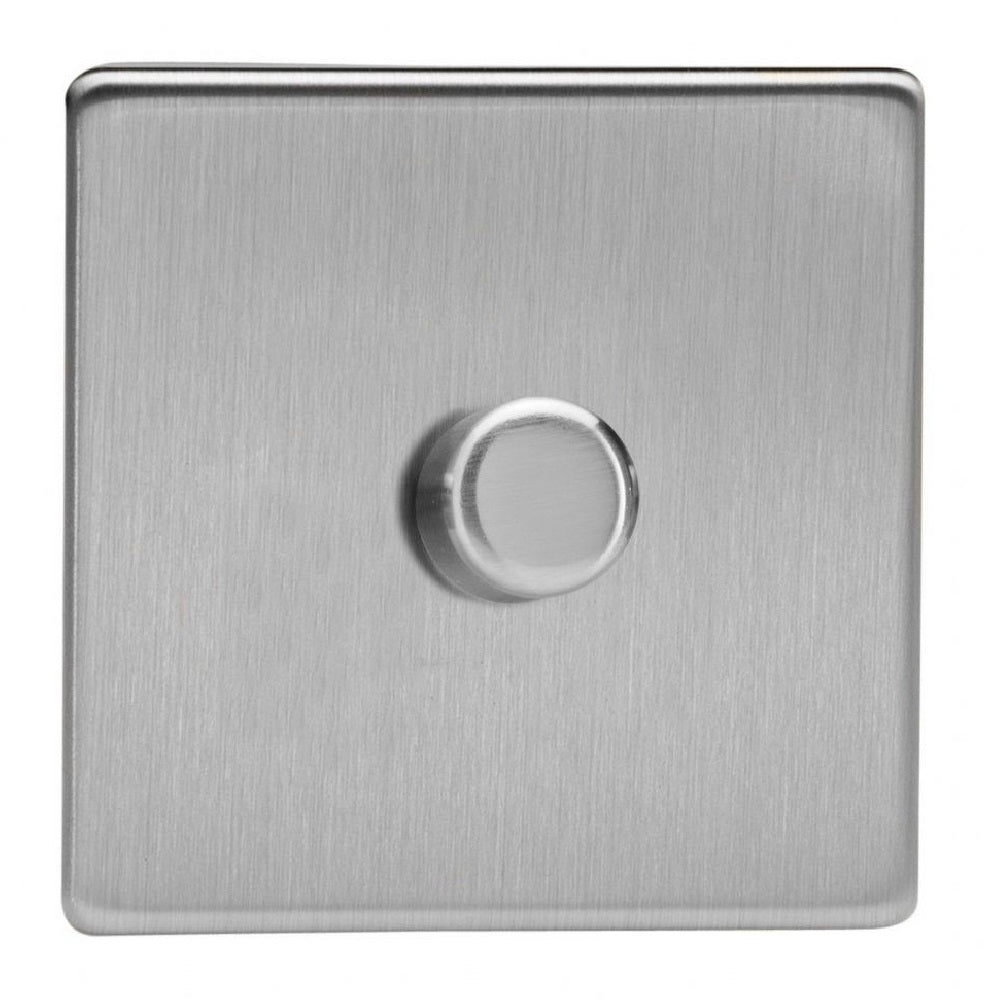 Varilight JDSP401S | Brushed Steel Screwless Dimmer Switch