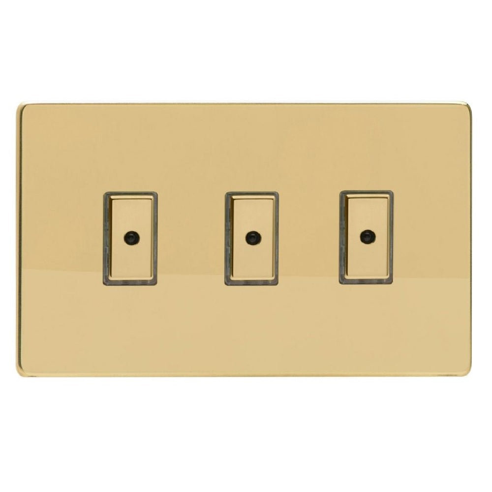 Varilight JDVE103S | Polished Brass Screwless Dimmer Switch