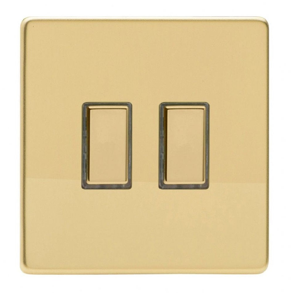 Varilight JDVES002S | Polished Brass Screwless Dimmer Switch