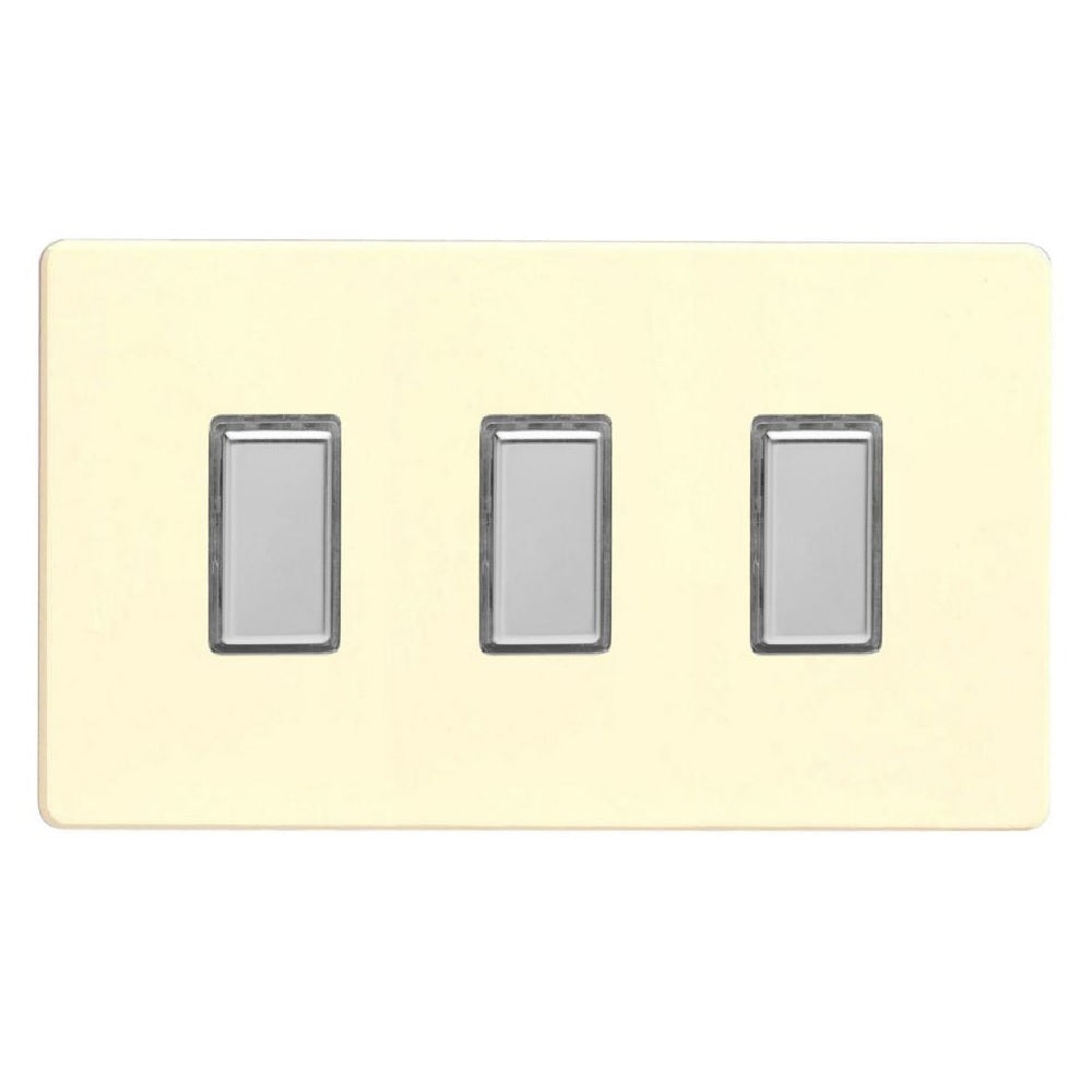 Varilight JDWES003S | White Chocolate Screwless Dimmer Switch