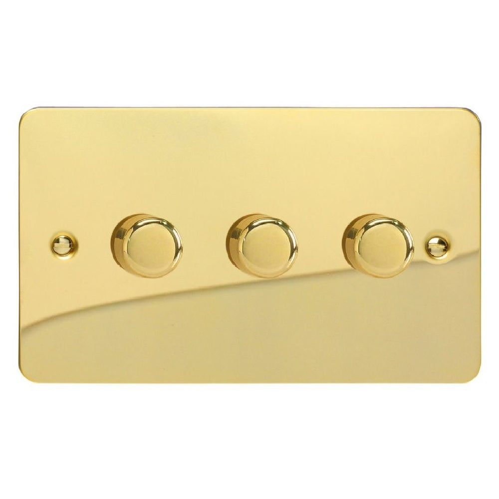 Varilight JFVDP303 | Polished Brass Ultraflat Dimmer Switch