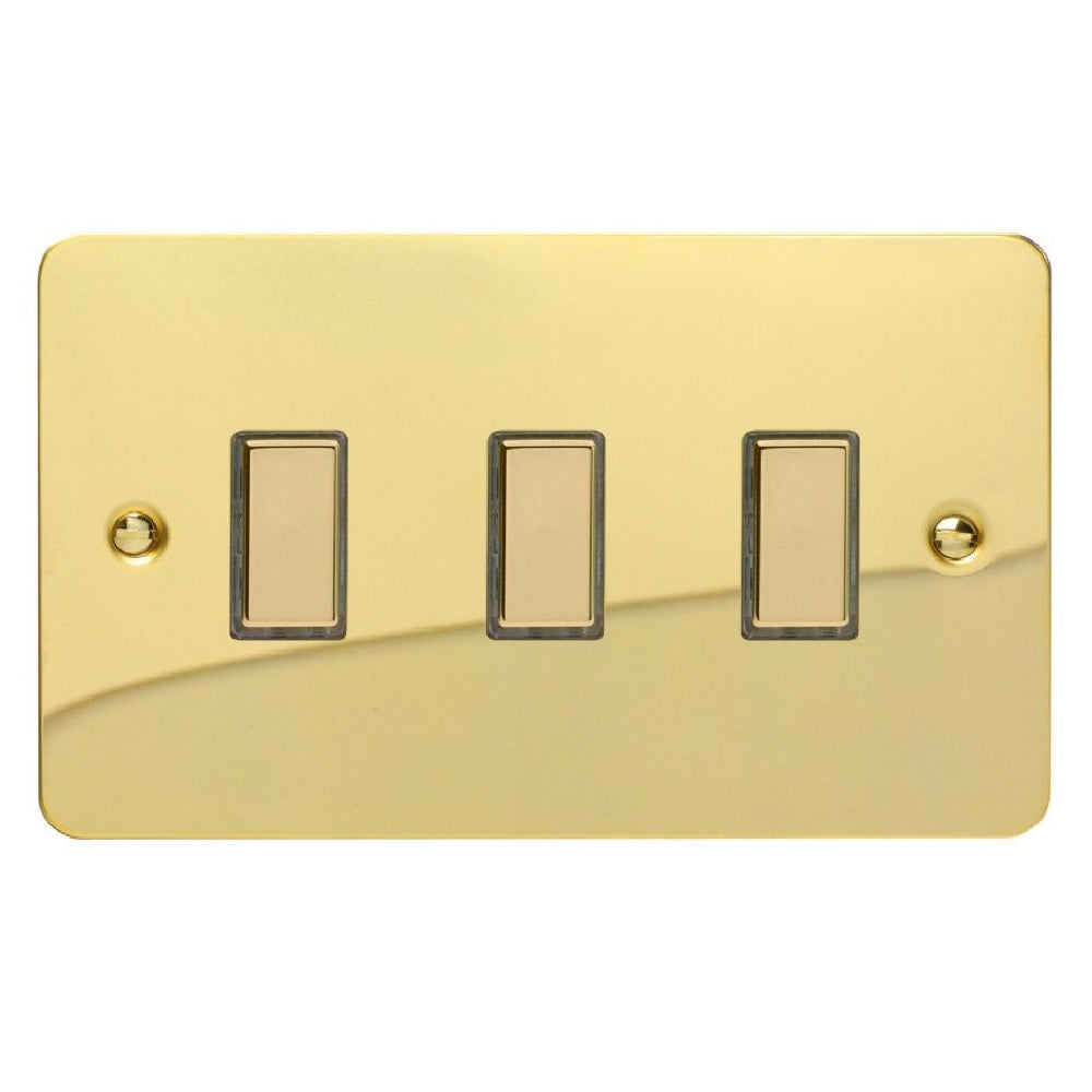Varilight JFVES003 | Polished Brass Ultraflat Dimmer Switch